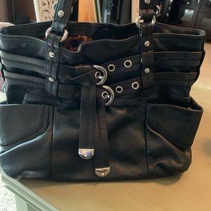 B. Makowsky large black leather shoulder bag.